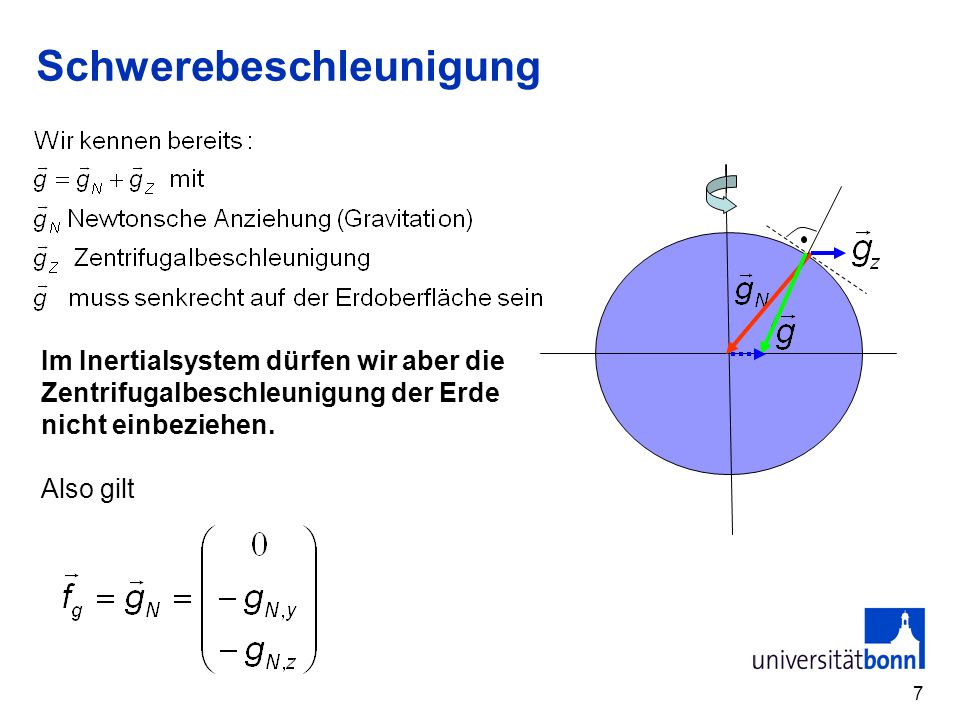 7 Schwerebeschleunigung Im Inertialsystem dürfen wir aber die Zentrifugalbeschleunigung der Erde nicht einbeziehen. Also gilt