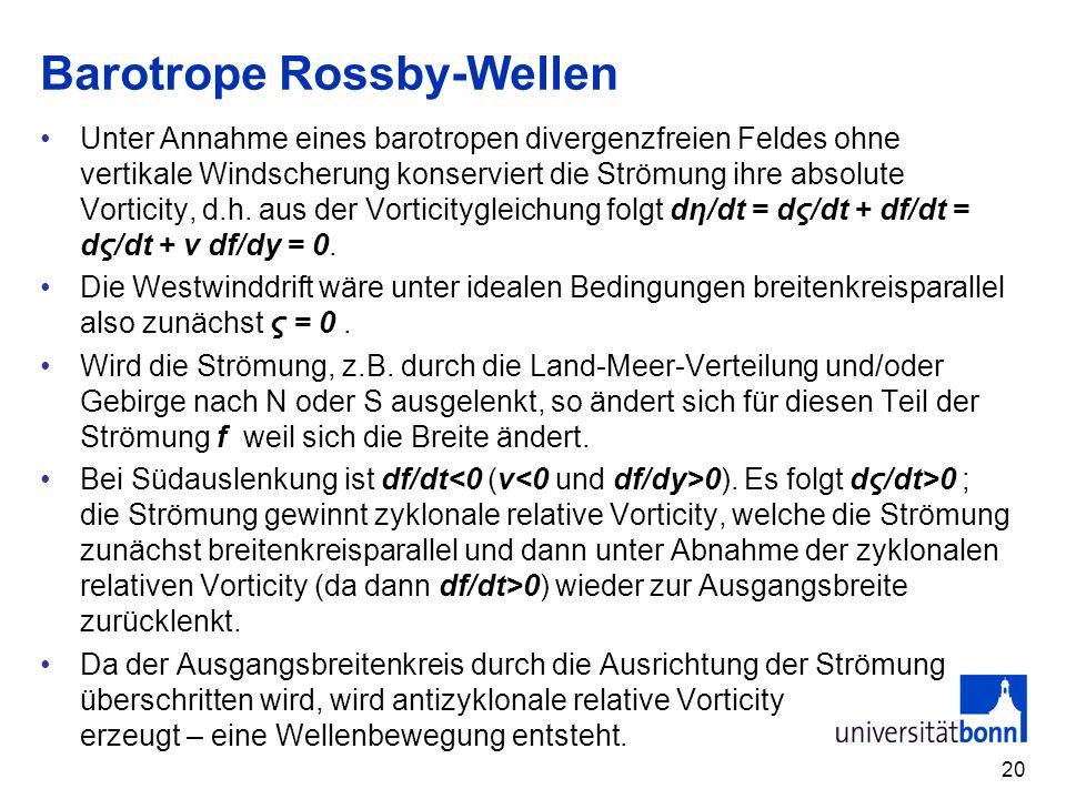 20 Barotrope Rossby-Wellen Unter Annahme eines barotropen divergenzfreien Feldes ohne vertikale Windscherung konserviert die Strömung ihre absolute Vo