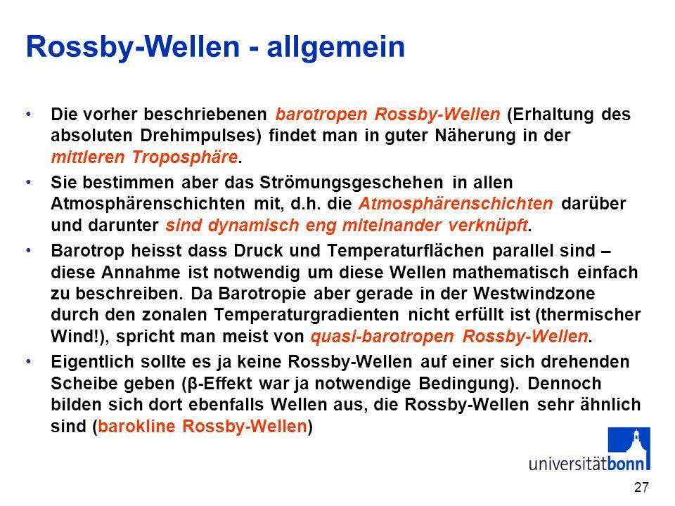 27 Rossby-Wellen - allgemein Die vorher beschriebenen barotropen Rossby-Wellen (Erhaltung des absoluten Drehimpulses) findet man in guter Näherung in