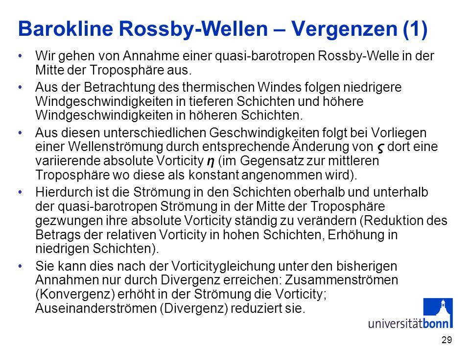 29 Barokline Rossby-Wellen – Vergenzen (1) Wir gehen von Annahme einer quasi-barotropen Rossby-Welle in der Mitte der Troposphäre aus. Aus der Betrach