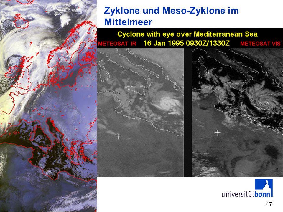 47 Zyklone und Meso-Zyklone im Mittelmeer