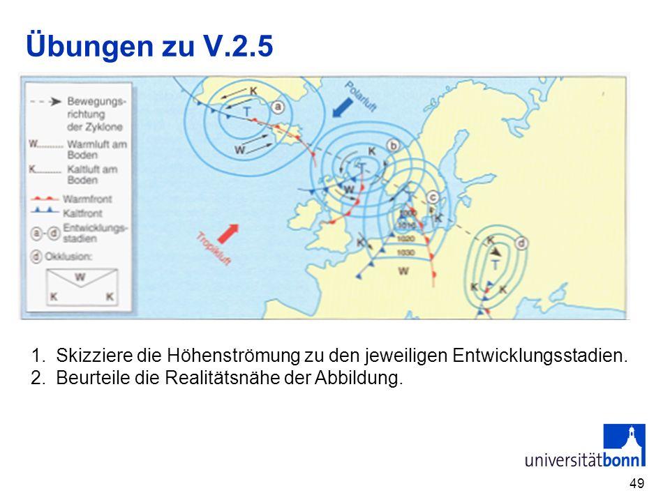 49 Übungen zu V.2.5 1.Skizziere die Höhenströmung zu den jeweiligen Entwicklungsstadien. 2.Beurteile die Realitätsnähe der Abbildung.