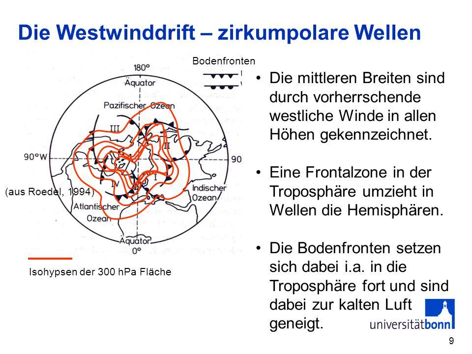 9 Die Westwinddrift – zirkumpolare Wellen Die mittleren Breiten sind durch vorherrschende westliche Winde in allen Höhen gekennzeichnet. Eine Frontalz