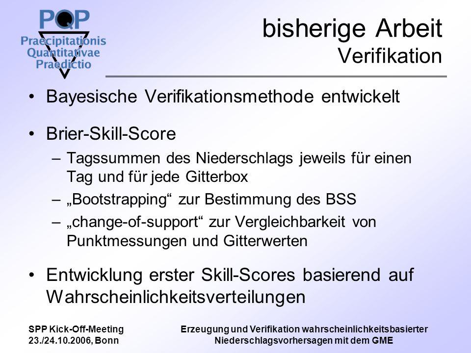SPP Kick-Off-Meeting 23./24.10.2006, Bonn Erzeugung und Verifikation wahrscheinlichkeitsbasierter Niederschlagsvorhersagen mit dem GME bisherige Arbeit Verifikation Brier-Skill-Score –Messwerte DWD –Modell ECWMF