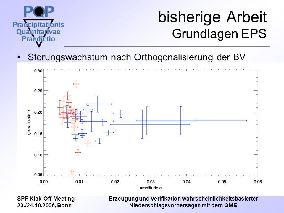 SPP Kick-Off-Meeting 23./24.10.2006, Bonn Erzeugung und Verifikation wahrscheinlichkeitsbasierter Niederschlagsvorhersagen mit dem GME bisherige Arbeit Grundlagen EPS Störungswachstum nach Orthogonalisierung der BV