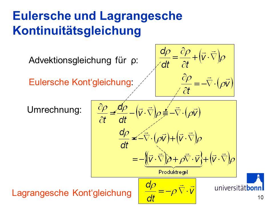 10 Eulersche und Lagrangesche Kontinuitätsgleichung Advektionsgleichung für ρ: Eulersche Kontgleichung: Umrechnung: Lagrangesche Kontgleichung