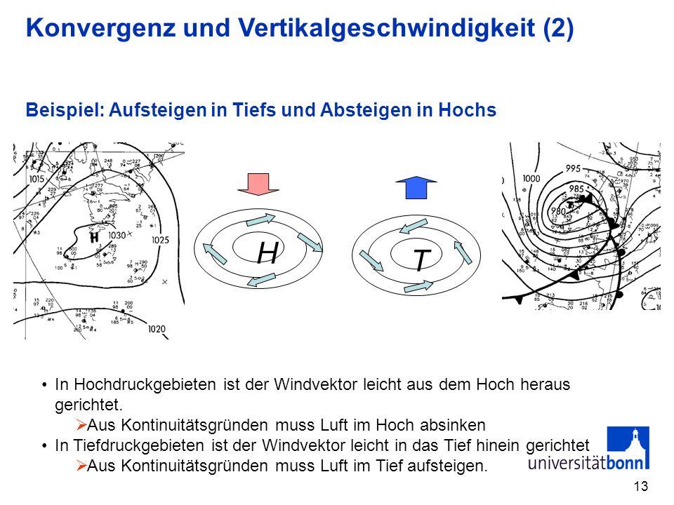 13 Beispiel: Aufsteigen in Tiefs und Absteigen in Hochs H T In Hochdruckgebieten ist der Windvektor leicht aus dem Hoch heraus gerichtet. Aus Kontinui