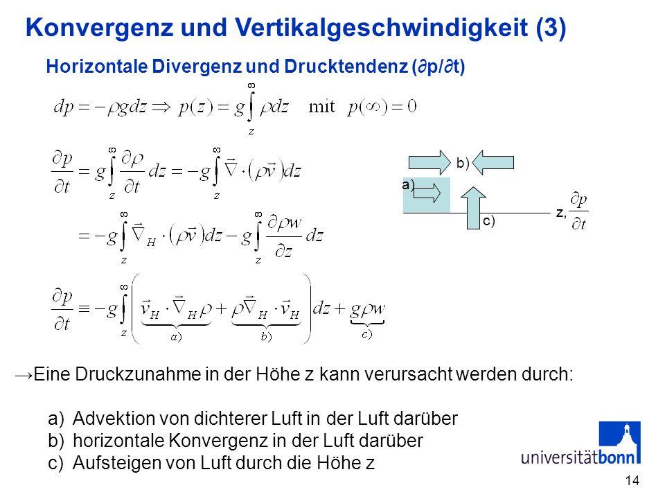 14 Horizontale Divergenz und Drucktendenz (p/t) Eine Druckzunahme in der Höhe z kann verursacht werden durch: a)Advektion von dichterer Luft in der Lu