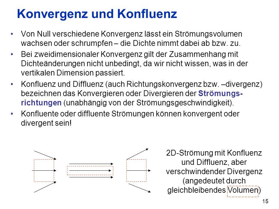 15 Konvergenz und Konfluenz Von Null verschiedene Konvergenz lässt ein Strömungsvolumen wachsen oder schrumpfen – die Dichte nimmt dabei ab bzw. zu. B