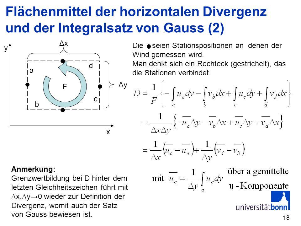 18 x y F a b c d ΔxΔx ΔyΔy Die seien Stationspositionen an denen der Wind gemessen wird. Man denkt sich ein Rechteck (gestrichelt), das die Stationen