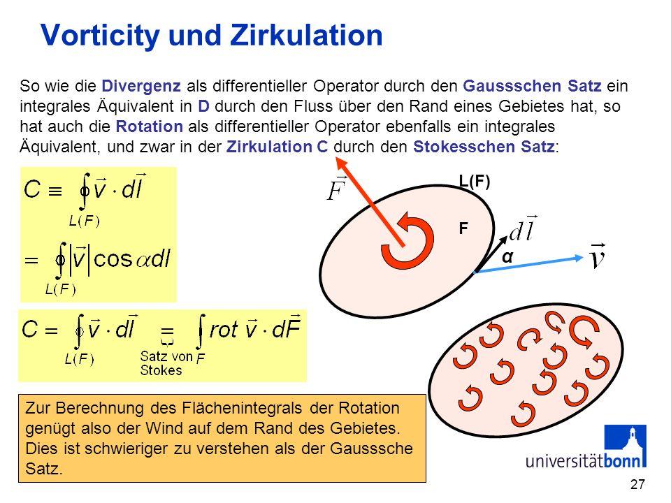 27 Vorticity und Zirkulation So wie die Divergenz als differentieller Operator durch den Gaussschen Satz ein integrales Äquivalent in D durch den Flus