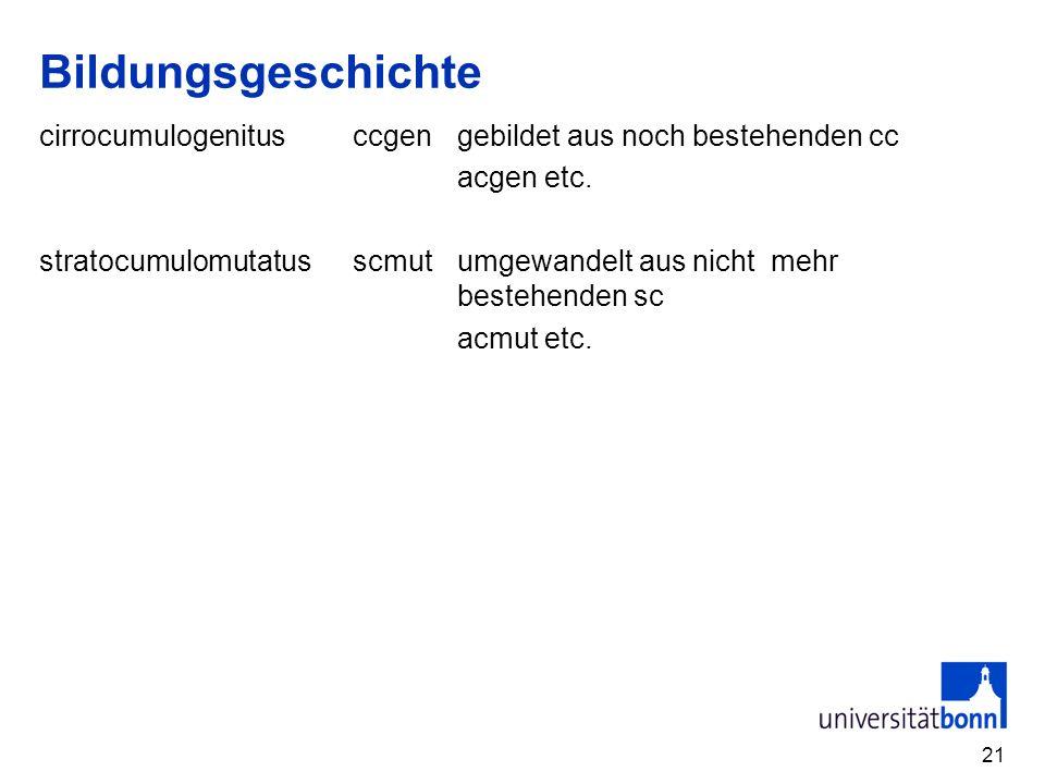 21 Bildungsgeschichte cirrocumulogenitusccgengebildet aus noch bestehenden cc acgen etc. stratocumulomutatusscmutumgewandelt aus nicht mehr bestehende