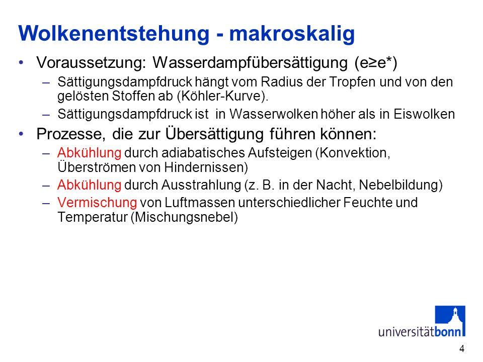 35 III.5.3 Niederschlag 1.Fallender Niederschlag (Kondensation in der Atmosphäre) –Niederschlagsbildung warmer Regenprozess Bergeron-Findeisenprozess (Mischphase) –Niederschlagsverteilung –Extreme Niederschläge 2.Aufgewirbelter Niederschlag (kein Phasenübergang) 3.Abgesetzter Niederschlag (Kondensation am Boden)