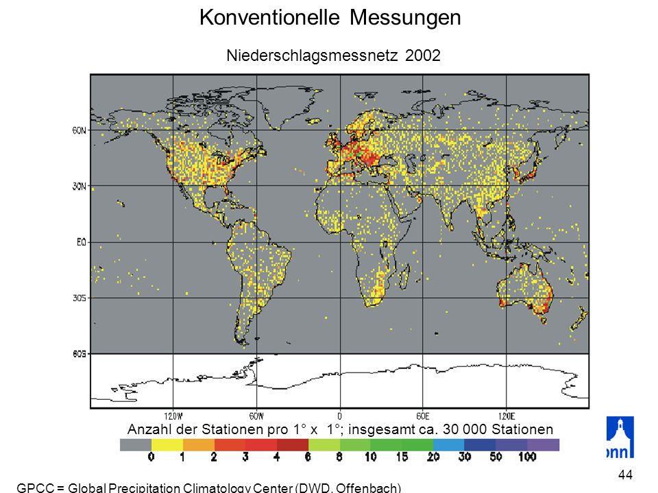 44 Konventionelle Messungen Fehlerquellen: Anzahl der Stationen pro 1° x 1°; insgesamt ca. 30 000 Stationen Niederschlagsmessnetz 2002 GPCC = Global P