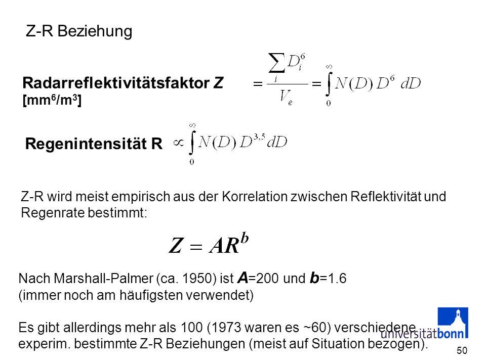 50 Z-R Beziehung Radarreflektivitätsfaktor Z [mm 6 /m 3 ] Z-R wird meist empirisch aus der Korrelation zwischen Reflektivität und Regenrate bestimmt: