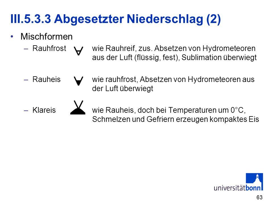 63 III.5.3.3 Abgesetzter Niederschlag (2) Mischformen –Rauhfrostwie Rauhreif, zus. Absetzen von Hydrometeoren aus der Luft (flüssig, fest), Sublimatio