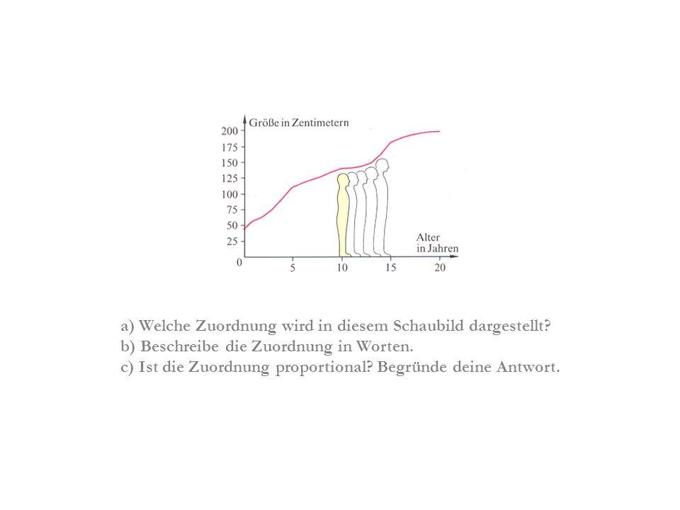 a) Welche Zuordnung wird in diesem Schaubild dargestellt? b) Beschreibe die Zuordnung in Worten. c) Ist die Zuordnung proportional? Begründe deine Ant