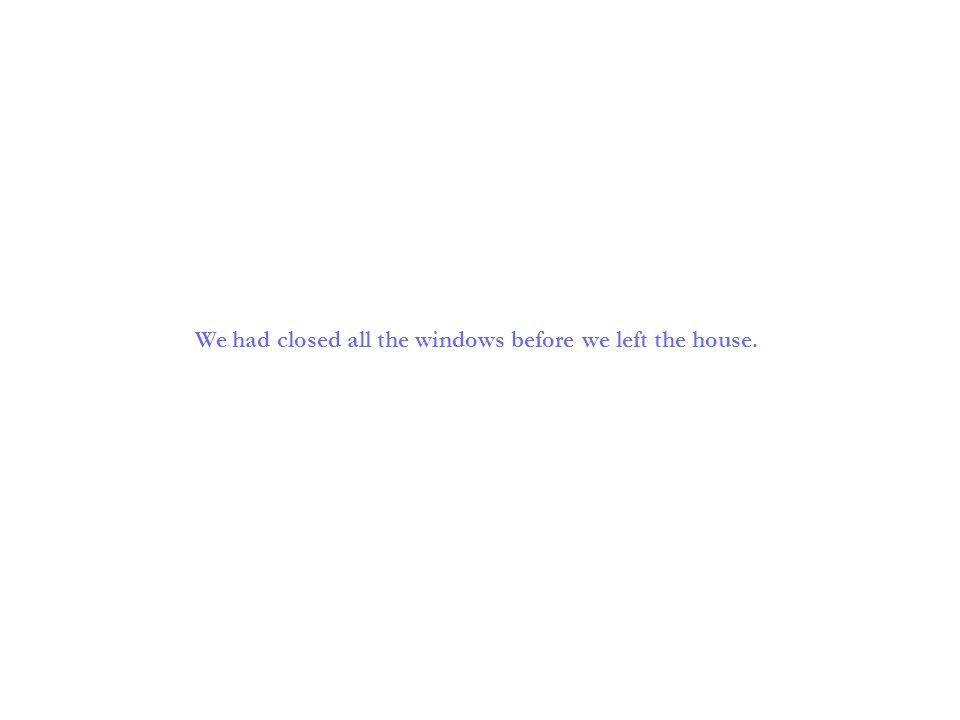 Wir hatten alle Fenster geschlossen, bevor wir das Haus verließen.