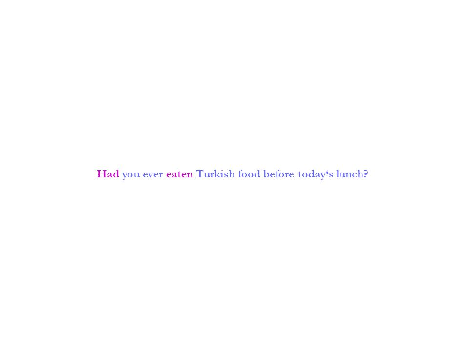 Had you ever eaten Turkish food before todays lunch