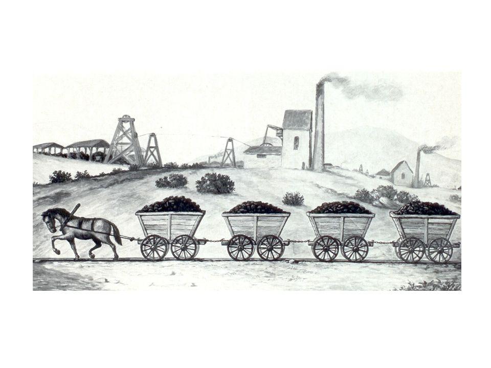 Eine der ersten Pferdeeisenbahnen auf einem englischen Kohlenbergwerk, um 1767.