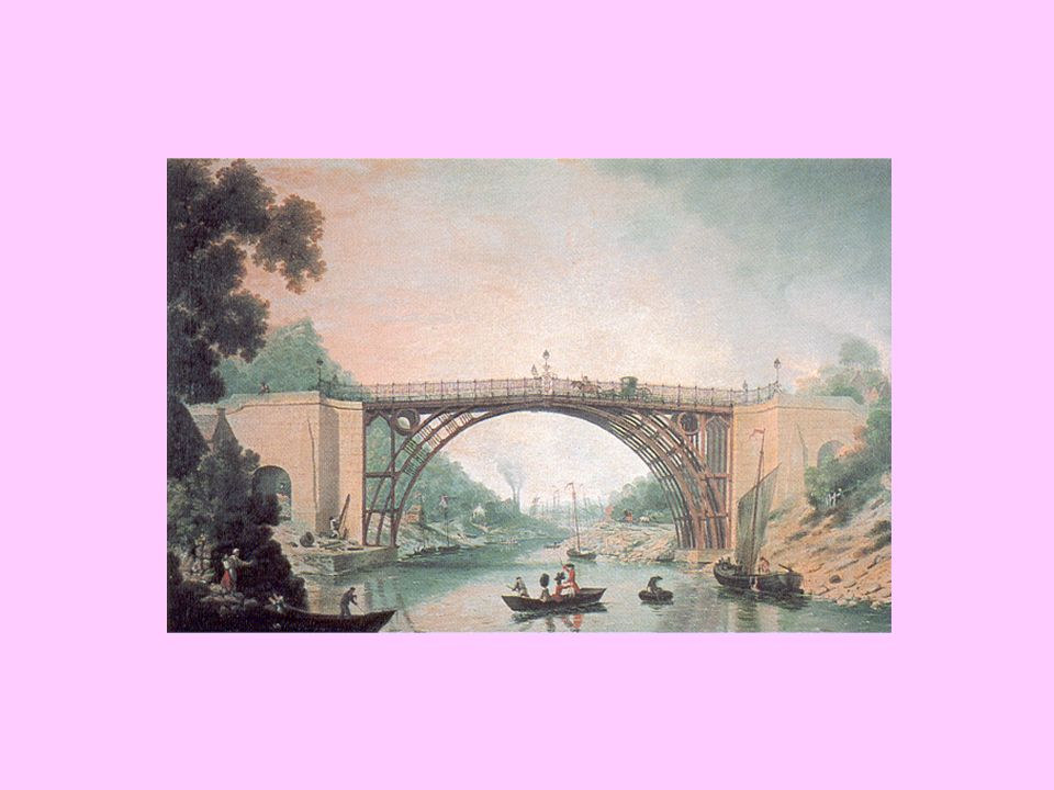 The first iron bridge, built at Coalbrookdale by Abraham Darbys firm in 1779