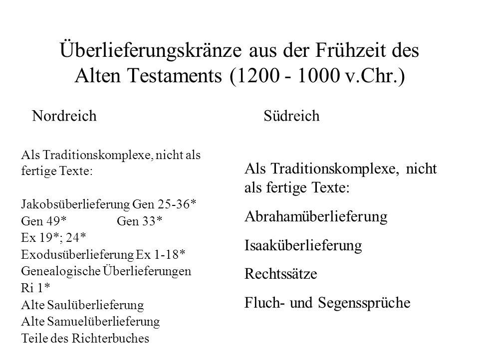 Überlieferungskränze aus der Frühzeit des Alten Testaments (1200 - 1000 v.Chr.) NordreichSüdreich Als Traditionskomplexe, nicht als fertige Texte: Jak