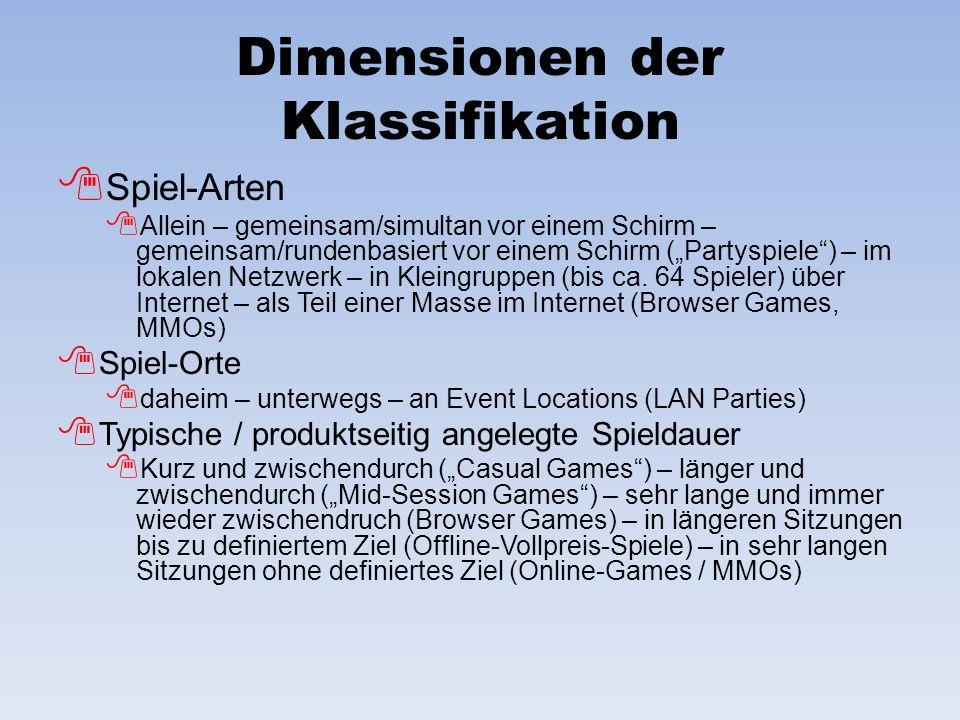 Dimensionen der Klassifikation Spiel-Arten Allein – gemeinsam/simultan vor einem Schirm – gemeinsam/rundenbasiert vor einem Schirm (Partyspiele) – im lokalen Netzwerk – in Kleingruppen (bis ca.
