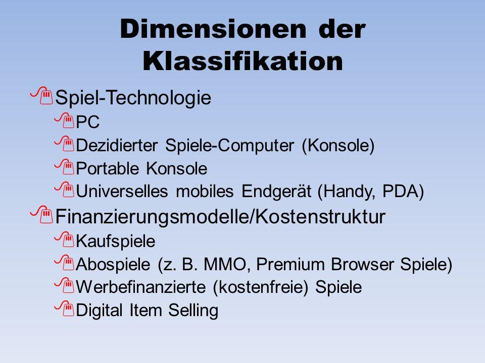 Dimensionen der Klassifikation Spiel-Technologie PC Dezidierter Spiele-Computer (Konsole) Portable Konsole Universelles mobiles Endgerät (Handy, PDA)