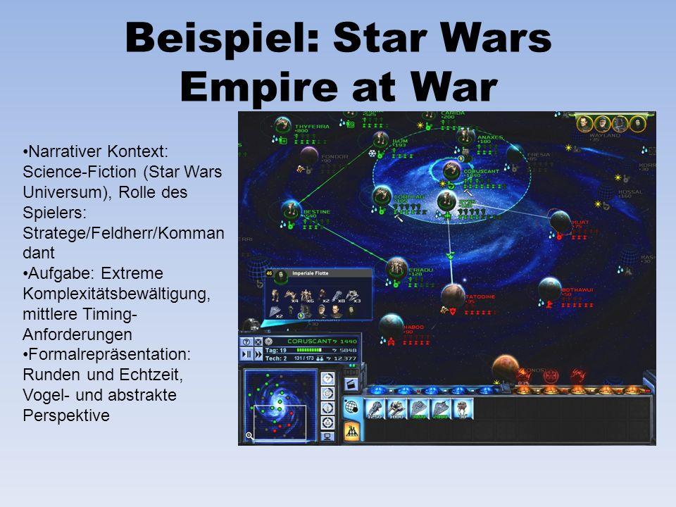 Beispiel: Star Wars Empire at War Narrativer Kontext: Science-Fiction (Star Wars Universum), Rolle des Spielers: Stratege/Feldherr/Komman dant Aufgabe
