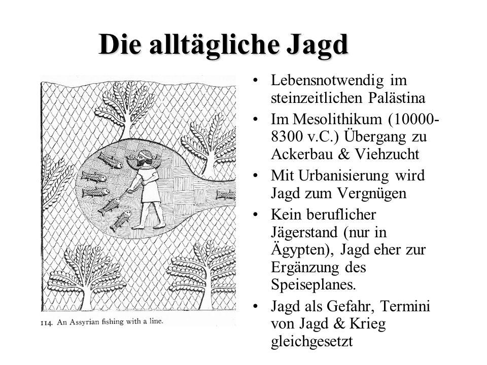 Die alltägliche Jagd Lebensnotwendig im steinzeitlichen Palästina Im Mesolithikum (10000- 8300 v.C.) Übergang zu Ackerbau & Viehzucht Mit Urbanisierun