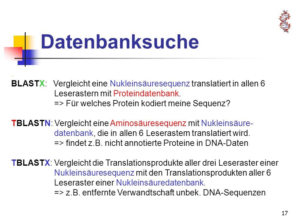 17 Datenbanksuche. BLASTX: Vergleicht eine Nukleinsäuresequenz translatiert in allen 6 Leserastern mit Proteindatenbank. => Für welches Protein kodier