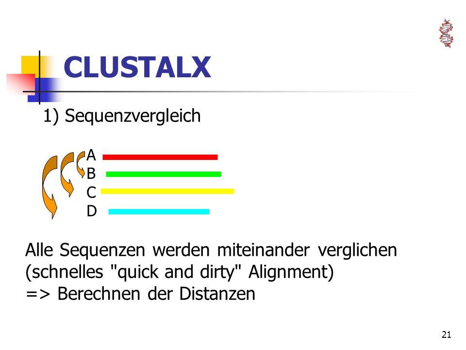 21 CLUSTALX ABCDABCD 1) Sequenzvergleich Alle Sequenzen werden miteinander verglichen (schnelles