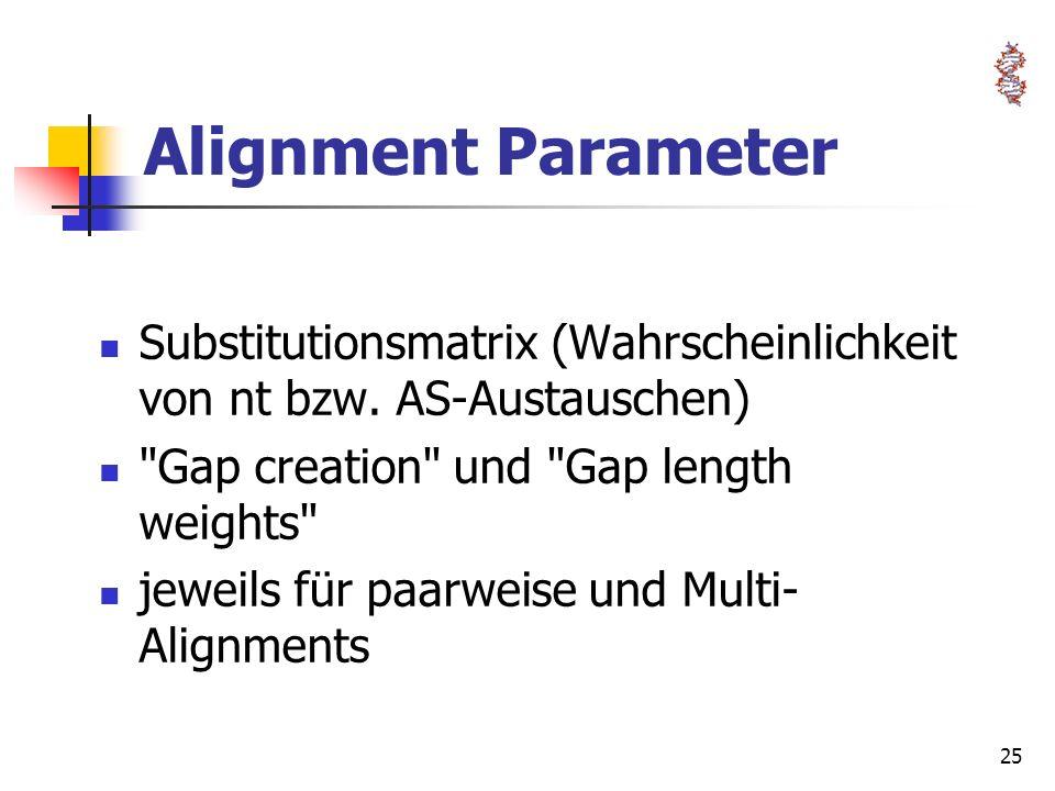 25 Alignment Parameter Substitutionsmatrix (Wahrscheinlichkeit von nt bzw. AS-Austauschen)