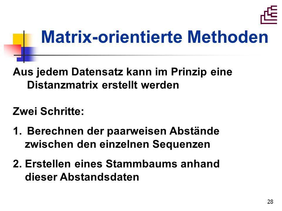 28 Matrix-orientierte Methoden Aus jedem Datensatz kann im Prinzip eine Distanzmatrix erstellt werden Zwei Schritte: 1.Berechnen der paarweisen Abstän