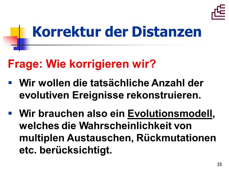 35 Korrektur der Distanzen Frage: Wie korrigieren wir? Wir wollen die tatsächliche Anzahl der evolutiven Ereignisse rekonstruieren. Wir brauchen also