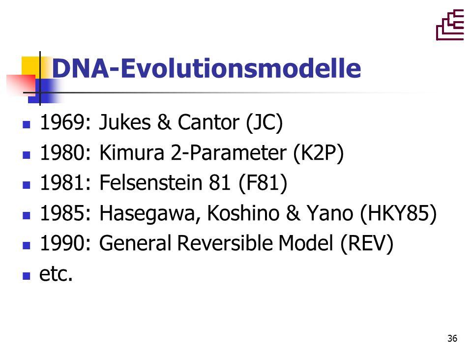 36 DNA-Evolutionsmodelle 1969: Jukes & Cantor (JC) 1980: Kimura 2-Parameter (K2P) 1981: Felsenstein 81 (F81) 1985: Hasegawa, Koshino & Yano (HKY85) 19