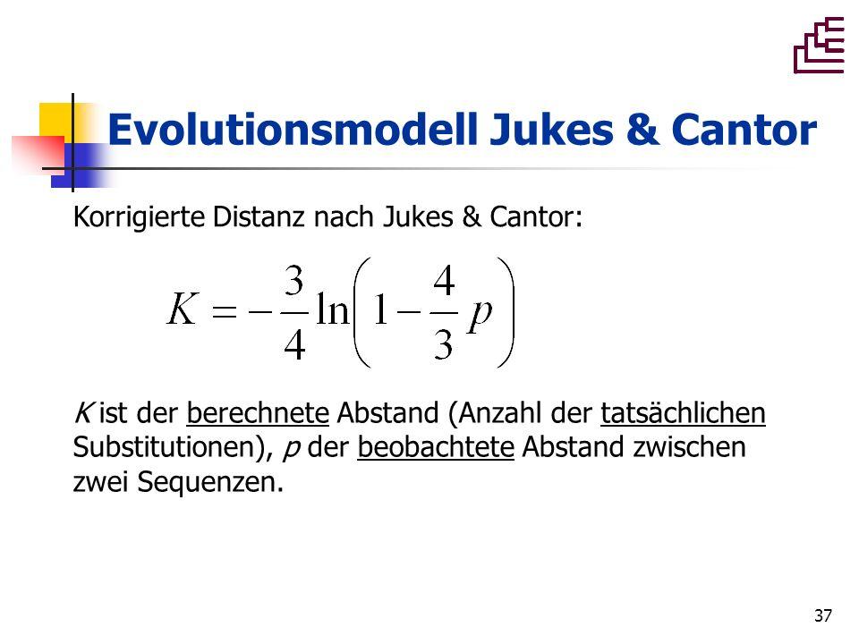 37 Evolutionsmodell Jukes & Cantor K ist der berechnete Abstand (Anzahl der tatsächlichen Substitutionen), p der beobachtete Abstand zwischen zwei Seq