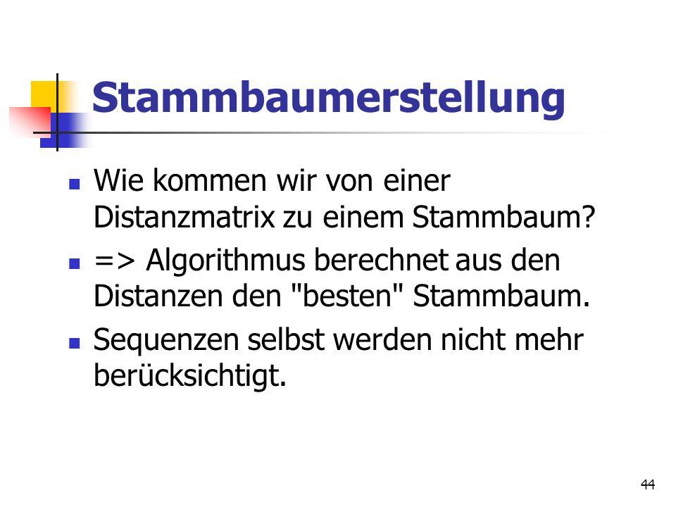 44 Stammbaumerstellung Wie kommen wir von einer Distanzmatrix zu einem Stammbaum? => Algorithmus berechnet aus den Distanzen den