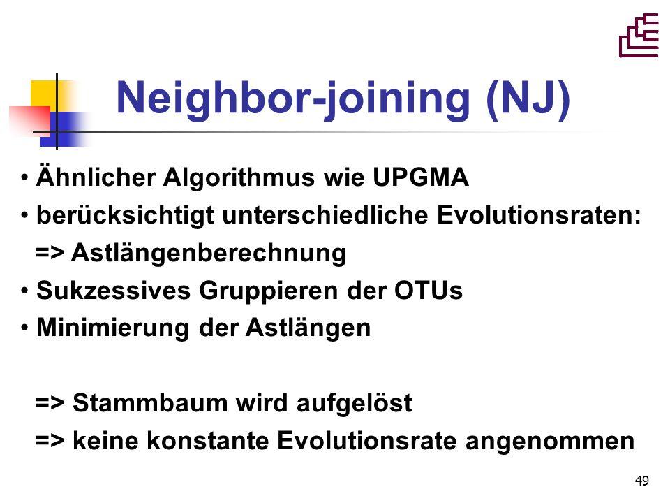 49 Neighbor-joining (NJ) Ähnlicher Algorithmus wie UPGMA berücksichtigt unterschiedliche Evolutionsraten: => Astlängenberechnung Sukzessives Gruppiere
