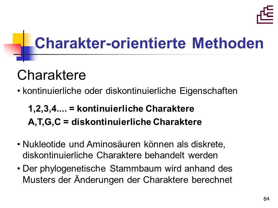 64 Charakter-orientierte Methoden Charaktere kontinuierliche oder diskontinuierliche Eigenschaften Nukleotide und Aminosäuren können als diskrete, dis