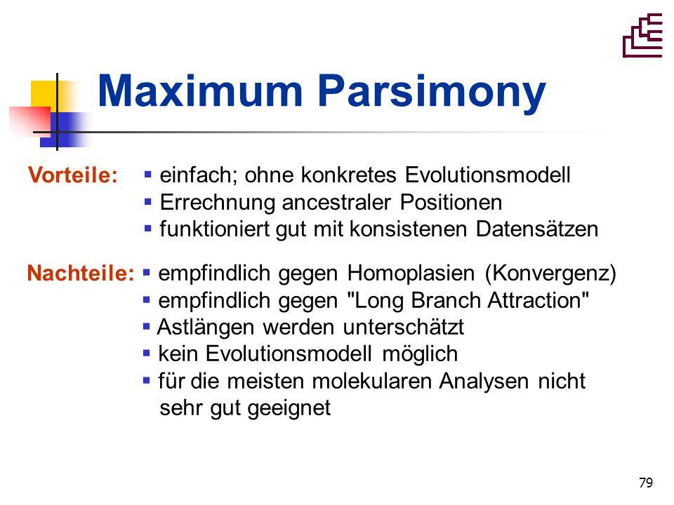 79 Maximum Parsimony einfach; ohne konkretes Evolutionsmodell Errechnung ancestraler Positionen funktioniert gut mit konsistenen Datensätzen Vorteile: