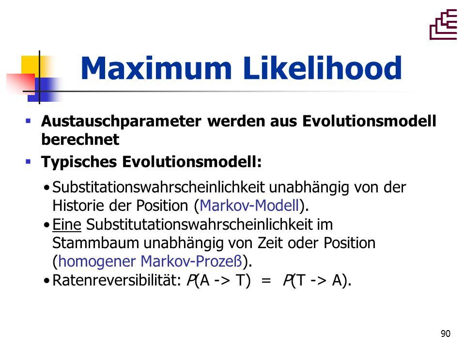 90 Maximum Likelihood Austauschparameter werden aus Evolutionsmodell berechnet Typisches Evolutionsmodell: Substitationswahrscheinlichkeit unabhängig