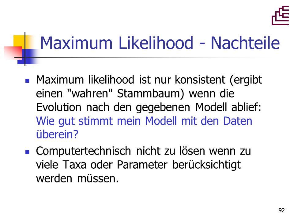 92 Maximum Likelihood - Nachteile Maximum likelihood ist nur konsistent (ergibt einen