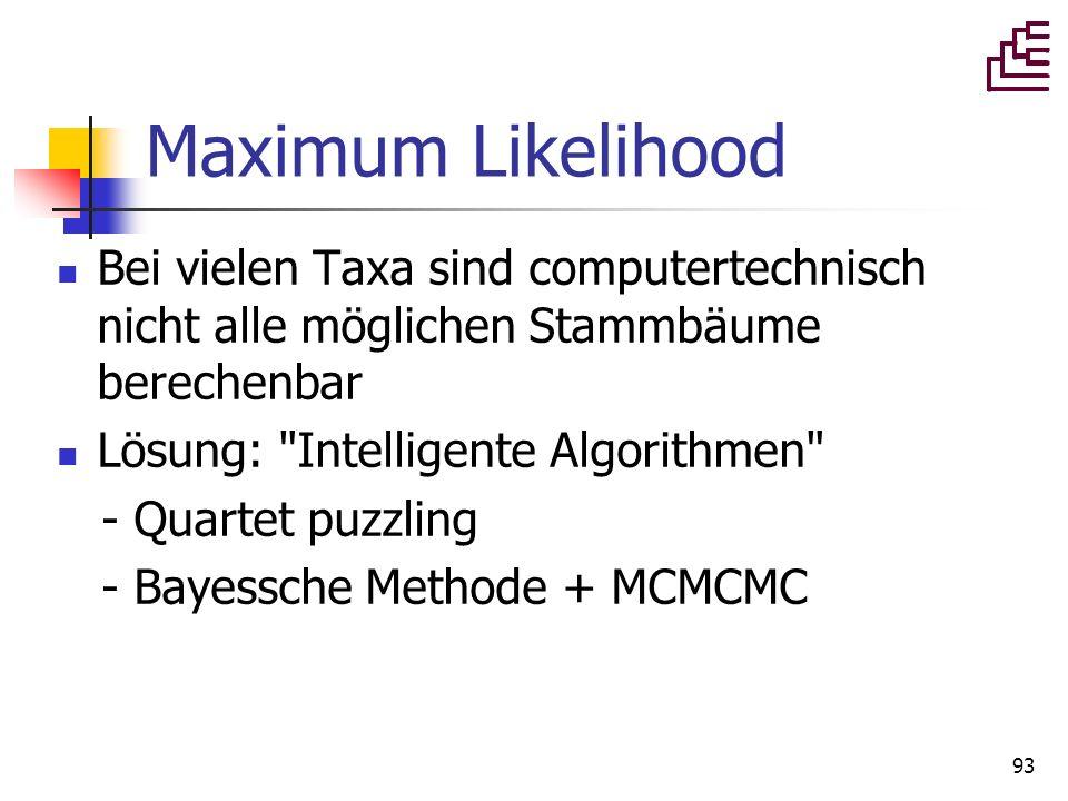 93 Maximum Likelihood Bei vielen Taxa sind computertechnisch nicht alle möglichen Stammbäume berechenbar Lösung: