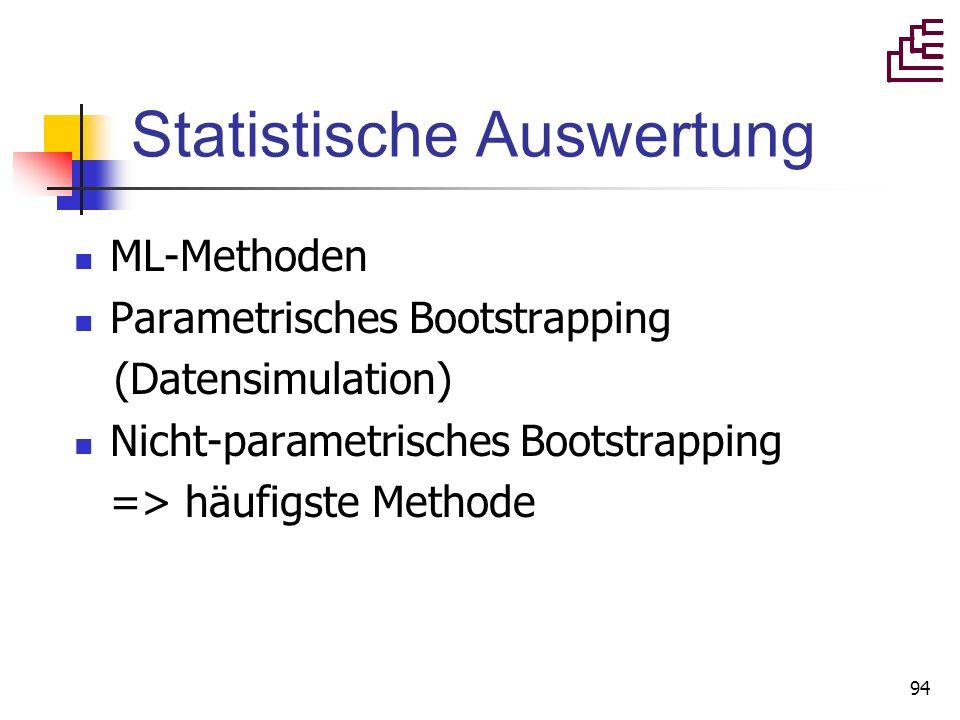 94 Statistische Auswertung ML-Methoden Parametrisches Bootstrapping (Datensimulation) Nicht-parametrisches Bootstrapping => häufigste Methode