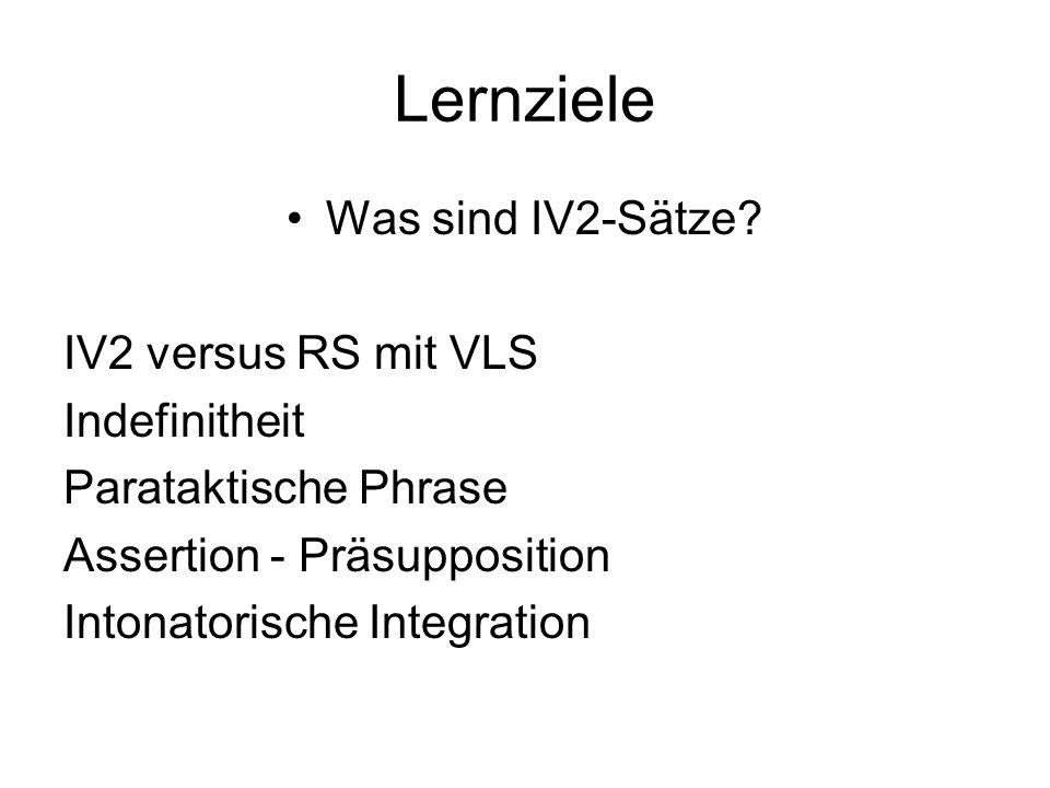 Lernziele Was sind IV2-Sätze.