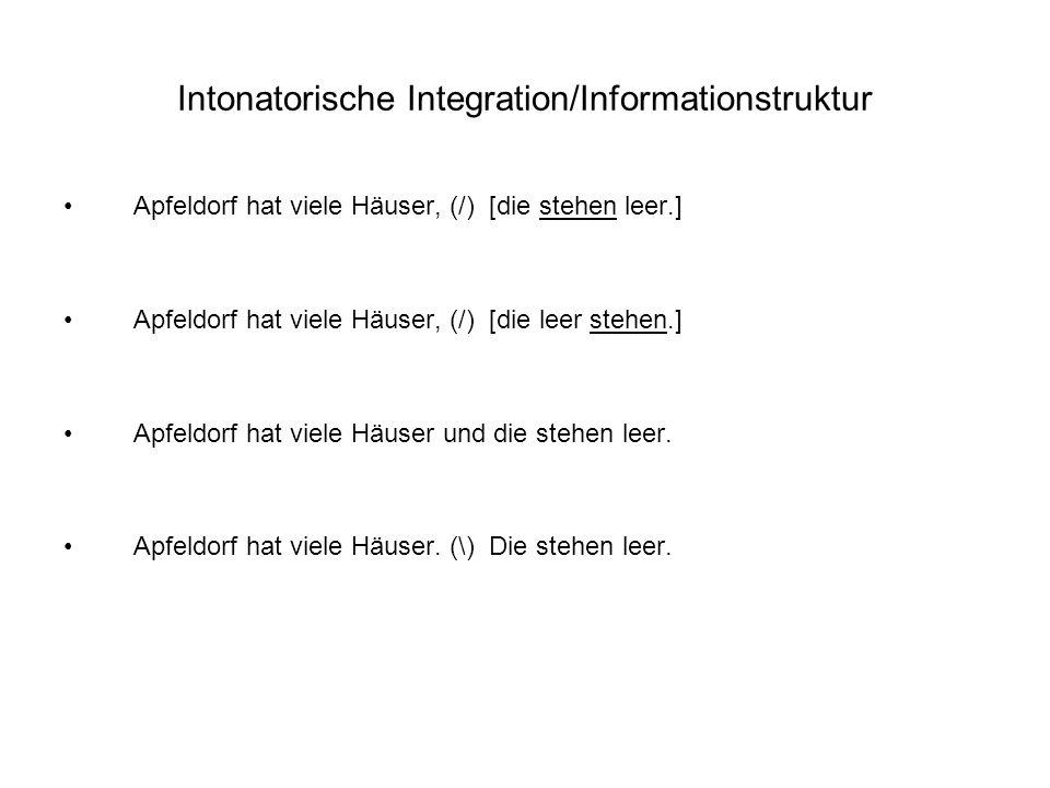 Intonatorische Integration/Informationstruktur Apfeldorf hat viele Häuser, (/) [die stehen leer.] Apfeldorf hat viele Häuser, (/) [die leer stehen.] Apfeldorf hat viele Häuser und die stehen leer.