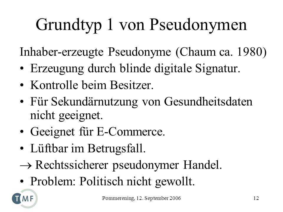 Pommerening, 12. September 200612 Grundtyp 1 von Pseudonymen Inhaber-erzeugte Pseudonyme (Chaum ca. 1980) Erzeugung durch blinde digitale Signatur. Ko