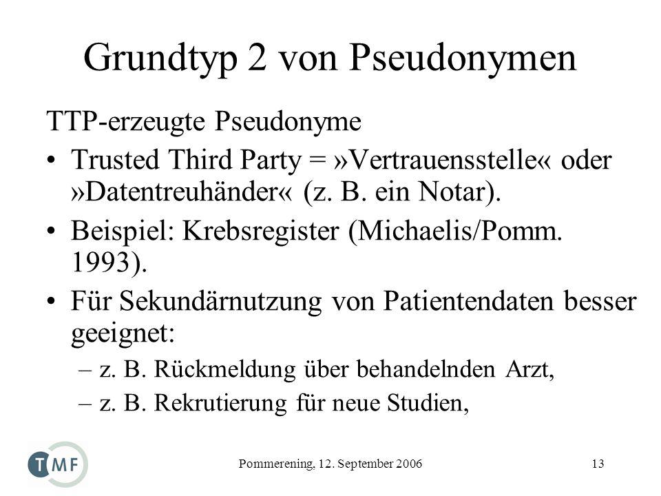 Pommerening, 12. September 200613 Grundtyp 2 von Pseudonymen TTP-erzeugte Pseudonyme Trusted Third Party = »Vertrauensstelle« oder »Datentreuhänder« (