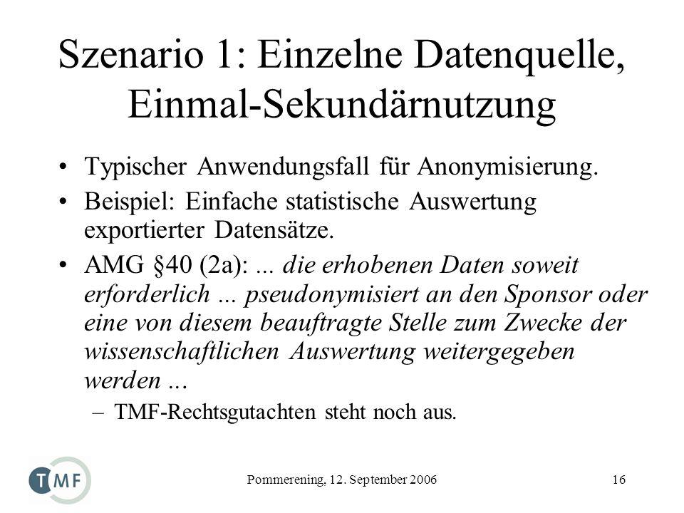Pommerening, 12. September 200616 Szenario 1: Einzelne Datenquelle, Einmal-Sekundärnutzung Typischer Anwendungsfall für Anonymisierung. Beispiel: Einf